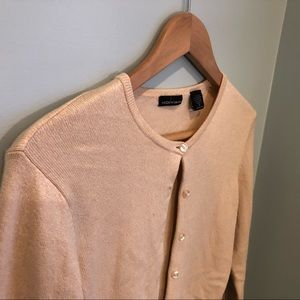 Moda International cashmere silk cardigan tan sz M